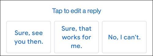 La función de respuesta inteligente de Gmail que muestra respuestas rápidas.