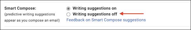 """En el """"Composición inteligente"""" sección, elige """"Redacción de sugerencias inhabilitada"""" para desactivar la función."""