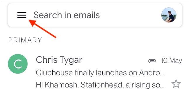 Toque el botón Menú (tres líneas paralelas) en la esquina superior izquierda de la aplicación Gmail.