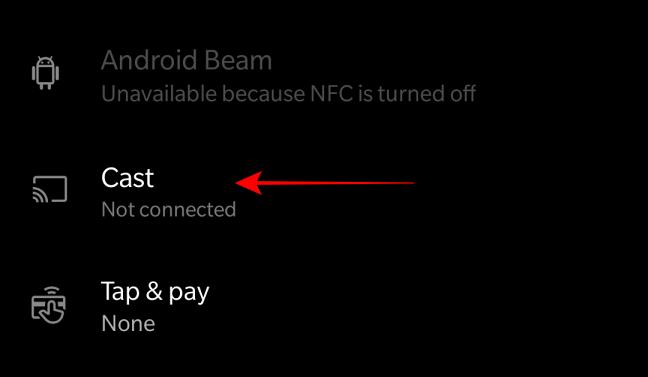 Seleccione la opción para transmitir desde la conexión de dispositivos bluetooth