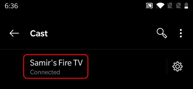 Confirmación de Android conectado a Fire TV